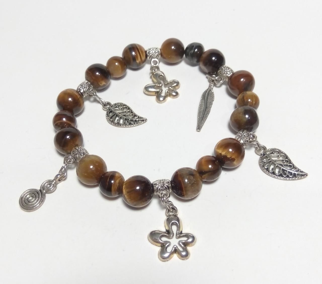 Браслет из натурального камня Тигровый Глаз, цвет коричневый и его оттенки, тм Satori \ Sb - 0035