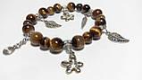 Браслет из натурального камня Тигровый Глаз, цвет коричневый и его оттенки, тм Satori \ Sb - 0035, фото 2