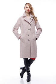 Комбинированное пудровое пальто кашемир и плащевка тренд года 2018, Италия и Китай кашемир 100% шерсть