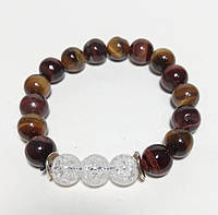 Браслет обережный Тигровый Глаз, Бычий Глаз, Горный хрусталь, натуральный камень цвет коричневый и его оттенки