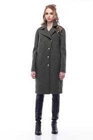 Комбинированное пальто цвет хаки кашемир и плащевка тренд года 2018, большие размеры 42-54