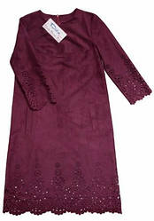 Нарядное платье из замша с перфорацией бордо, подростковое