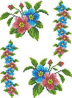 """Схема для вышивки на водорастворимом флизелине """"Цветочки орнамент"""""""