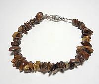 Браслет Тигровый Глаз натуральный камень, цвет коричневый и его оттенки, крошка