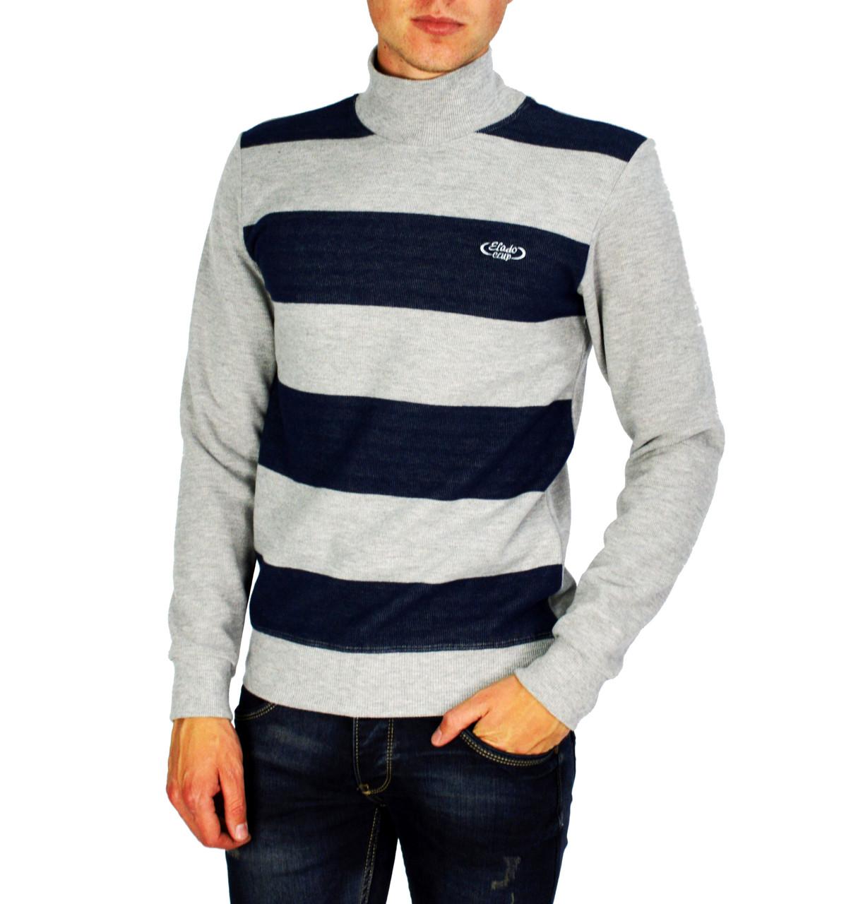 Серый полосатый мужской теплый свитер ELADO с горлом