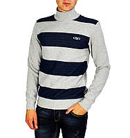 Серый полосатый мужской теплый свитер ELADO с горлом, фото 1