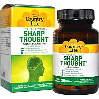 Комплекс для Поддержания Мозговой Деятельности, Sharp Thought, Country Life, 30 капсул