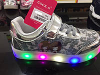 Детские серебристые кроссовки с подсветкой Размеры 32,35