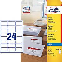 Адресная этикетка для струйного принтера Avery, 24 на листе, 63,50 х 33, 90 мм, белая