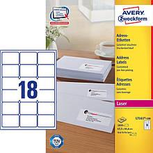 Адресная этикетка быстрого отклеивания Avery, 18 на листе, 63,50 х 46, 60 мм, белая
