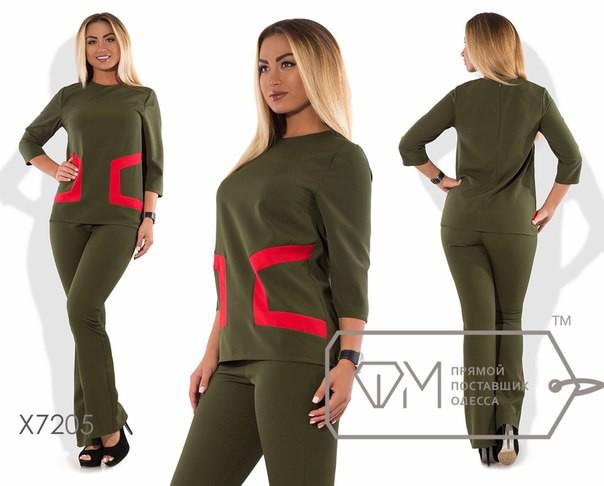 """Стильный женский костюм Блуза+брюки """"Костюмная""""  48, 50, 54 размер батал"""