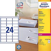 Адресная этикетка быстрого отклеивания Avery, 24 на листе, 63,50 х 33, 90 мм, белая