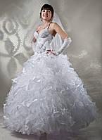 Шикарное белое свадебное платье с кристаллами Swarovski, размер 44-48 (б/у)