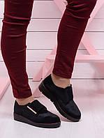 Женские туфли на низком ходу. Велюр