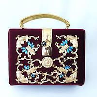 Бархатная сумка-чемоданчик, клатч украшенная камнями, кросс боди цвета марсала