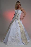 Необычное новое бело-золотое свадебное платье, размер 40-44