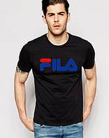 Футболка чёрная принт Fila | Стильная