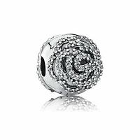 """Клипса """"Сияющая роза""""  серебро 925 пробы, гравировки, в фирменной упаковке"""