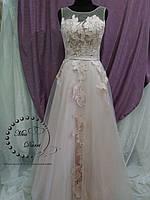 575f16e8159 Вечернее выпускное платье в цвете нюд с синим