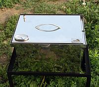 Коптильня нержавеющая  с гидрозатвором  и термометром  (400х300х280)