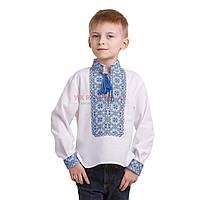Вышитая рубашка синими нитками для мальчика, фото 1