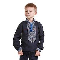 Темно-синяя вышитая рубашка для мальчика, фото 1