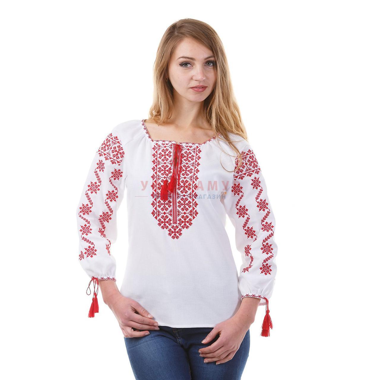 Вышитая женская дизайнерская блуза с красным орнаментом