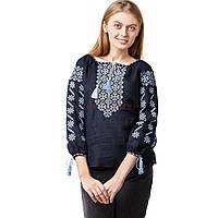 Вышитая темно-синяя женская блуза с голубым орнаментом, фото 1