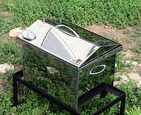 Коптильня нержавеющая  крышка домиком с термометром  (400х300х310)