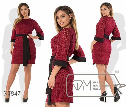 """Шикарное женское платье с поясом, ткань """"Трикотажное кружево"""" 54, 56 размер батал, фото 2"""