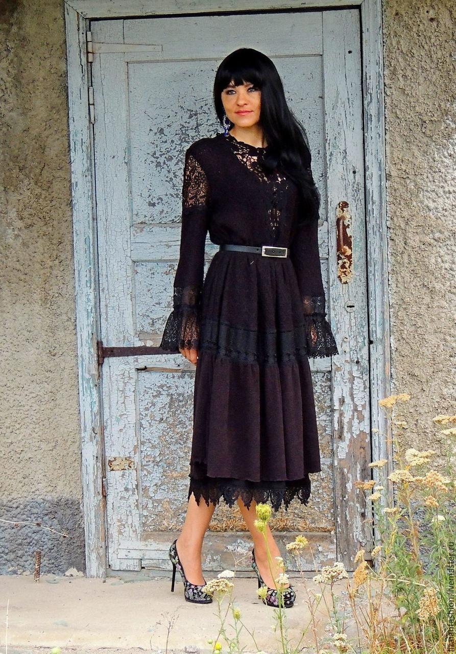 Черное платье миди из ангорового и ажурного трикотажа с кружевом ... 3eff2c519b904