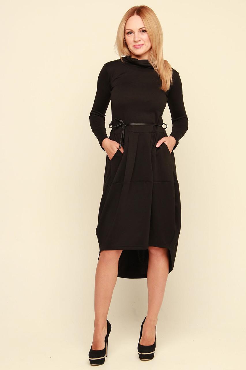 68aefa9d9fe91d6 Трикотажное черное платье Ментона S - DS Moda - женская одежда оптом от  производителя в Харькове