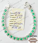 Браслет из серебра с зелеными фианитам
