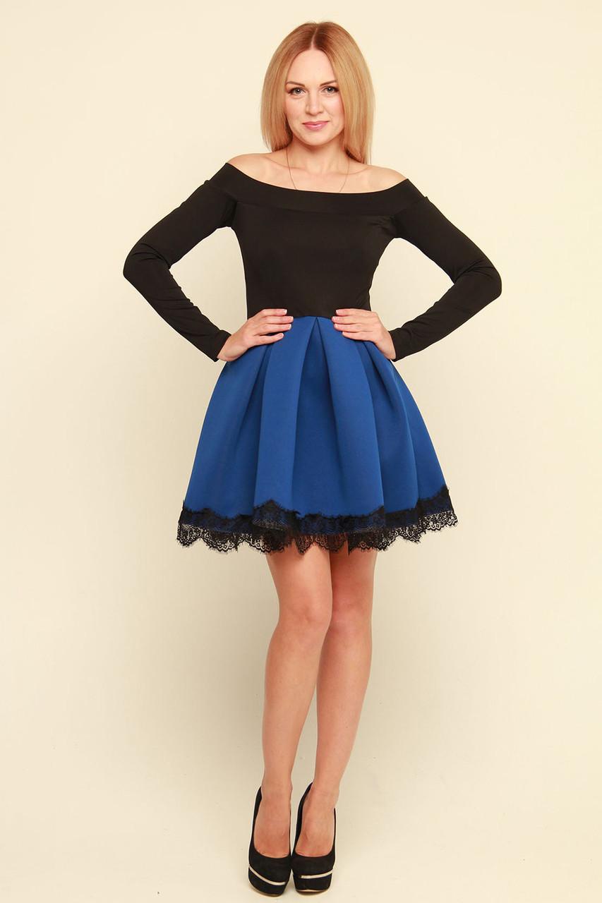 Нарядное платье с открытыми плечами Мерло электрик  продажа, цена в ... b188a42be12