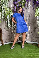 Женское платье-туника в горох (джинс) батал