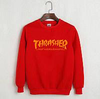 Красный яркий свитшот трешер, свитшот Thrasher