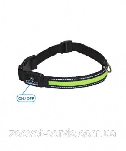 Ошейник нейлоновый регулируемый со светодиодной полоской  LED USB Croci 2,5х34-41 см