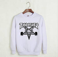 Белый свитшот с крутым принтом трешер, свитшот Thrasher