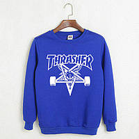 Синий свитшот с крутым принтом трешер, свитшот Thrasher
