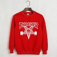 Красный свитшот с крутым принтом трешер, свитшот Thrasher