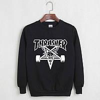 Черный свитшот с крутым принтом трешер, свитшот Thrasher