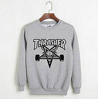 Серый свитшот с крутым принтом трешер, свитшот Thrasher