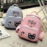 Женский мини рюкзак с котом на кармане, фото 1