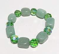 Браслет Нефритовый натуральный камень, цвет зеленый и его оттенки