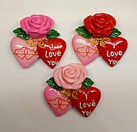 Магниты на холодильник роза и сердца 7*7