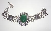 Браслет из Нефрита натуральный камень, цвет зеленый и его оттенки