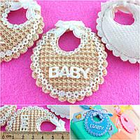 (5шт) Тканевый декор Baby-подушечка Размер 6,5х 5,5см Цвет - БЕЖ, фото 1