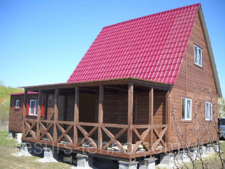 Дачный домик 6м х 6м фальшбрус с мансардой