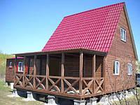 Дачный домик 6м х 6м фальшбрус с мансардой, фото 1