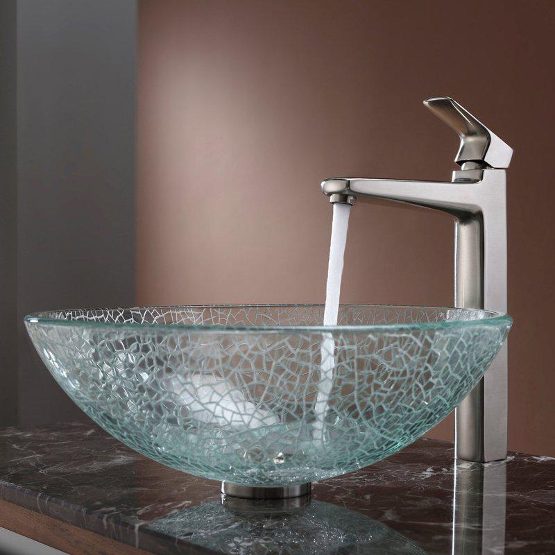 Эксклюзивный умывальник стеклянный круглый 420 мм (эффект битого стекла)